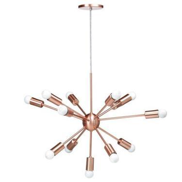 Lustre Pendente Moderno Sputnik Cobre com 3 Metros de Cabo