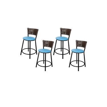 Banquetas Baixa Para Cozinha Hawai Café 4Un Assento Azul