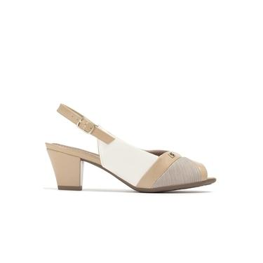 Sapato Peep Toe Feminino 714114 Piccadilly P105 - Branco/bege