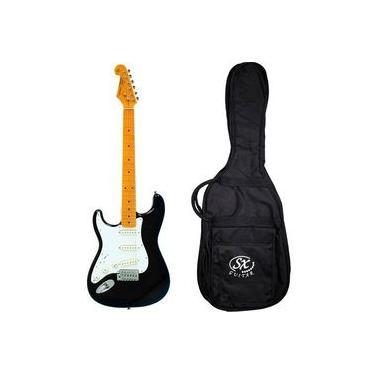 Imagem de Guitarra Canhota Stratocaster Sx Sst57lh Vintage Preta C/ Bag