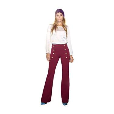 Calça flare em microgorgurinho com botões dourado pantalona Donna Brasiliana (Vinho, M)