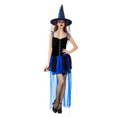 Imagem de MEIYIN Fantasia feminina de Halloween de bruxa para cosplay com tema de abóbora, vestido de tutu de malha com chapéu, Azul, P