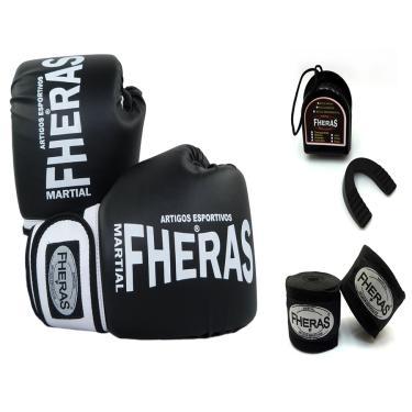 Kit Boxe Muay Thai Fheras Luva Bandagem Bucal - 12 oz PT/BC