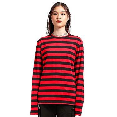 Top de malha listrada [vermelho/preto], Vermelho/preto, XS