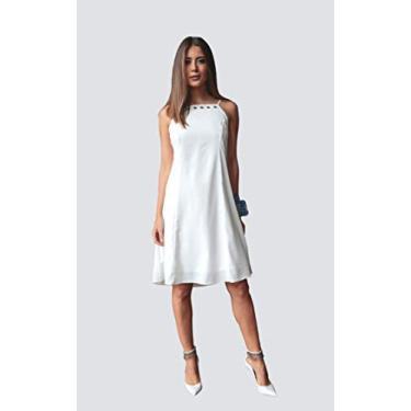 Vestido básico em crepe com elastano e detalhe de ilhoses clássico sofisticado Donna Brasiliana (Branco, P)