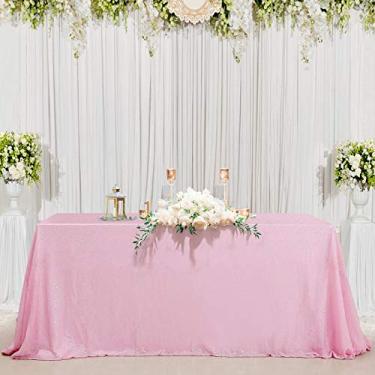 """Imagem de Toalha de mesa B-COOL 127 cm retangular fúcsia lantejoulas para casamento/festa/banquete, rosa, 50""""X80"""", 1"""