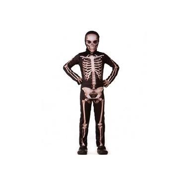 Imagem de Fantasia de Halloween Infantil Masculino Esqueleto com Gorro Estampado