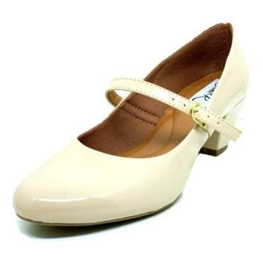 Sapatos Femininos Scarpin Salto Boneca Dani K Tamanho:34;Cor:Creme