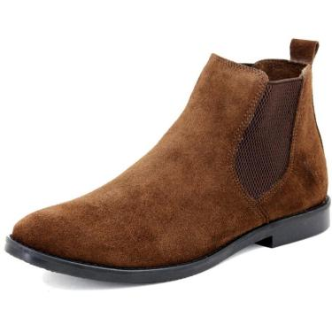 Bota Chelsea Masculina Mr Shoes Camurça Marrom  masculino