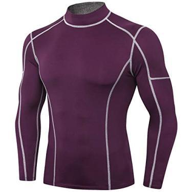 Camisa esporte, Andoer Camiseta masculina de manga comprida de compressão rápida de secagem rápida Camiseta elástica de treino para treino esportivo