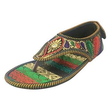 Sandália feminina Step n Style com contas sandálias étnicas Traditonal multi sandálias indianas Juttis, Multicoloured, 6