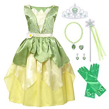Imagem de Fantasia Tiana para meninas vestido de princesa Halloween chique cosplay festa aniversário Natal roupas de fada verde com acessórios de luxo tamanho 9 a 10 anos