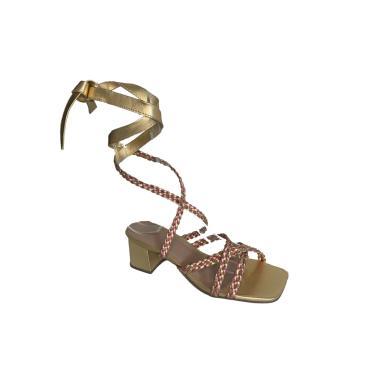 Imagem de Sandália Emme Salto Bloco Dourado com Rosa Metalizado  feminino