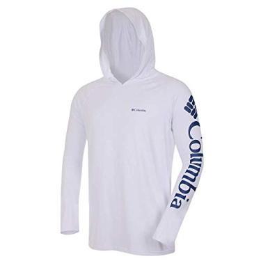 Camiseta Columbia Aurora Manga Longa Com Capuz Masculina - Branco P