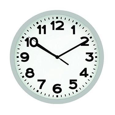a8fbc028f50 Relógio 30cm Redondo Grande 17837 Yazi Branco Prata