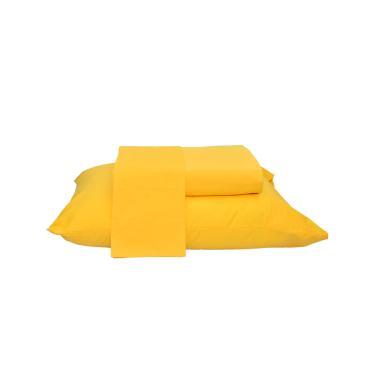 Jogo de Cama Solteiro Amarelo 2 Peças  Percal 180 Fios 100% Algodão