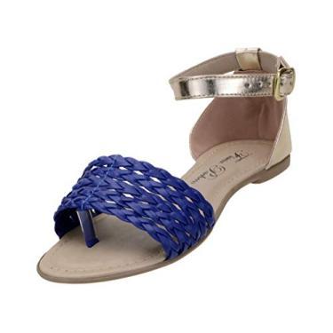 Sandalia Rasteirinha Feminina Descanso Trançada 01 - Azul Fl Pch (34, Azul-Dourado)