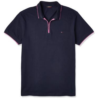Camisa Polo com Zíper, Aramis, Masculino, Grafite Mescla/Amarelo, G