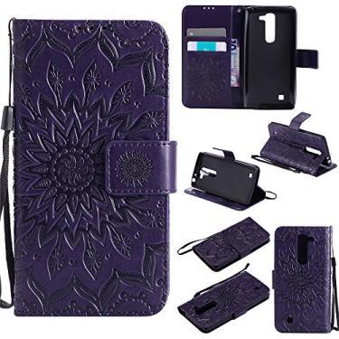 Capa carteira XYX para LG Volt 2, [Sun Flower] Couro PU premium fecho magnético TPU bumper capa slim fit para LG Volt 2/LG Magna/LG G4 Mini/LG G4C, roxo