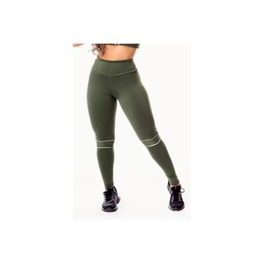 Imagem de Calça Legging Feminina Fitness Academia Verde Militar com Detalhes em Vivo Branco Cintura Alta
