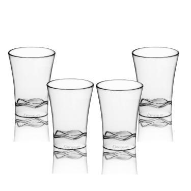 4 Copos Shot Tequila Acrílico Transparente