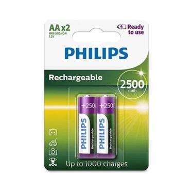 06 Pilhas Aa 2500mah Recarregável Philips 03 Cartelas - Phillips