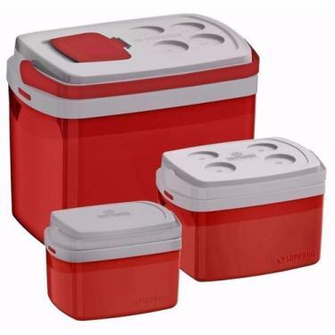Imagem de Kit Combo 3 Caixa Térmica 32, 12, 5 L Vermelho Cooler - Soprano