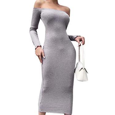 Vestido feminino Ebu Gogo com ombros de fora, suéter de mangas compridas, vestido sexy, elegante, de malha, vestido longo, vestido maxi justo, Cinza, Large