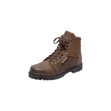 Bota Coturno Em Couro Mega Boots 6022 Chumbo-cafe  masculino