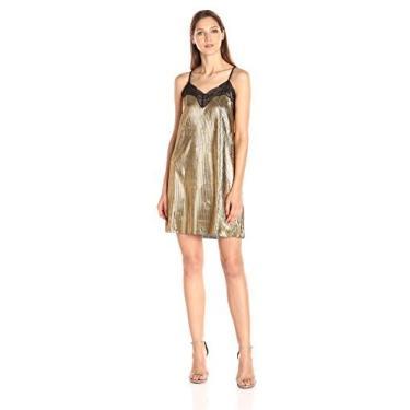 Imagem de Sugarlips Vestido feminino plissado, Dourado, Small