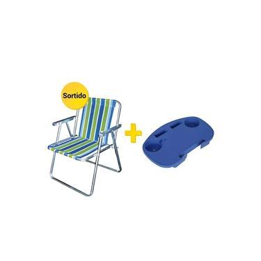 Kit Cadeira de Praia Alumínio Botafogo + Mesa Portátil Mor