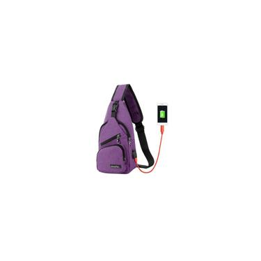 Homens bolsa de ombro mensageiro saco saco de carregamento USB roxo
