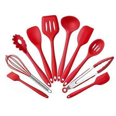 Kit 10 Peças Jogo De Utensílios De Silicone Maciço Cozinha Inox Pegador Espátula Colher Concha Pincel (Vermelho)