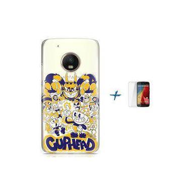 Kit Capa TPU Moto G5 Cuphead Game Jogo + Pel Vidro (BD30)