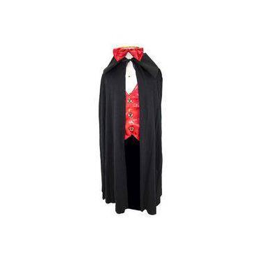 Imagem de Fantasia de Drácula Vampiro Dimitri Com Colete e Capa Halloween Infantil