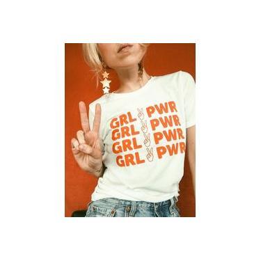 Camisa Feminina Baby Look Girl Power Camiseta Poder Feminino Logo Laranja