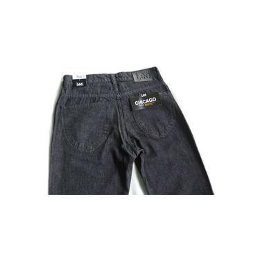 Calça Jeans Lee Chicago Masculina Tradicional 100% Algodão Preta 1000
