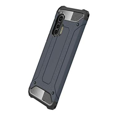 MOONCASE Capa para Motorola Moto Edge Plus, Capa Grau militar absorção de choque Camada dupla PC & TPU Tampa de proteção para Moto Edge+ - Marinha
