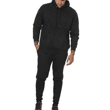 Conjunto Calça e Blusa Frio Moletom Peluciado Masculino (PRETO, G)
