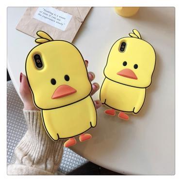 3d dos desenhos animados bonito pato amarelo silicone capa traseira para o iphone 5 5S se 5c 6s 7 8