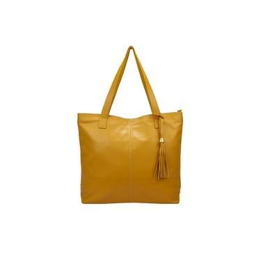 Bolsa Amarela Branca Feminina Sacola Shopbag Saco Ombro Couro Legítimo Metais Dourados Madamix