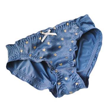 Doufine Calcinha feminina formal de algodão fofo com coração elástico bronze amor calcinha sexy, Azul, tamanho �nico