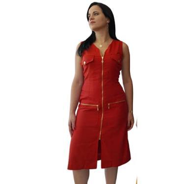 Imagem de Vestido de Linho Yasmim Midi Vermelho Telha com Zíperes e Botões Dourados Tamanho:M