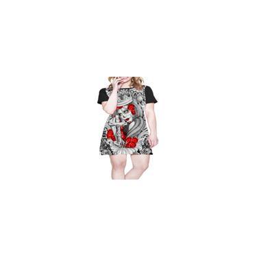 Imagem de Vestido Soltinho - Santa Preto e Branco - Rosas Vermelhas - Cruz (72)