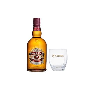 Kit Whisky Chivas Regal 12 anos 750ml + Copo de vidro 340ml
