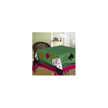 Imagem de Toalha de Mesa Aveludada Quadrado Cartas Cassino Teka 140 x 140 cm