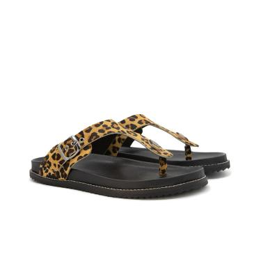 Imagem de Sandalia Birken Rasteira Flat em Couro Onça Kuento Shoes  feminino