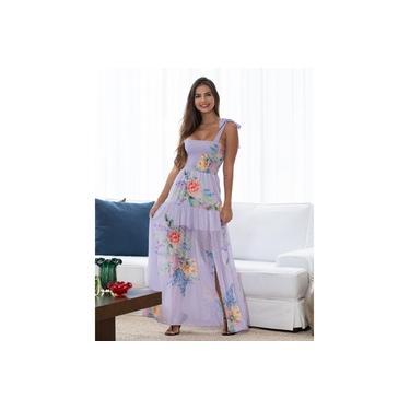 Vestido Miss Misses Estampado Longo c/ Alça Laço LILAS