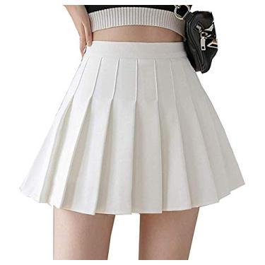 Saia plissada de cintura alta para meninas, saia xadrez simples, evasê, minissaia, skatista, uniforme escolar, shorts com forro, Branco, L