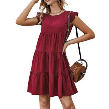 Jurebecia Vestido de senhora com mangas esvoaçantes saia verão estilo fofo jovem vitalidade,vermelho- XL